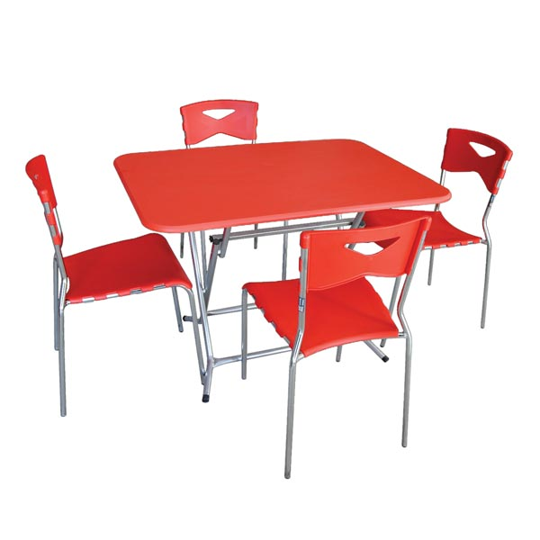 Pack table pliante 120x80 pvc+ 4 chaises City Rouge