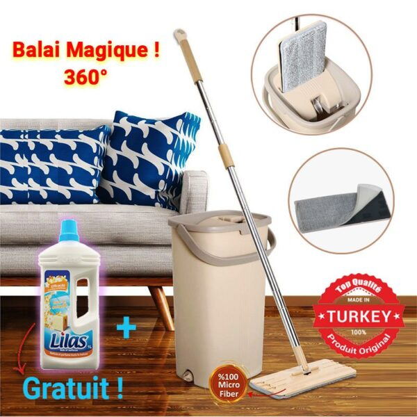 Set Complet Balai à Plat Microfibre + Seau-Essoreur+nettoyant gratuit
