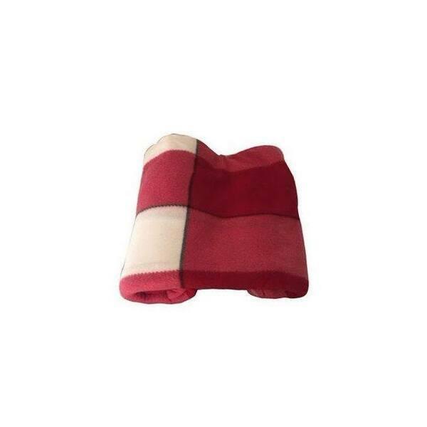 Plaid - 230 cm x 200 cm Motif carreauxRouge/Rose/Beige