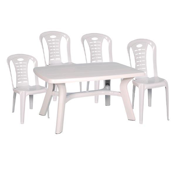 Pack table plastique 140 + 4 chaises City Blanc