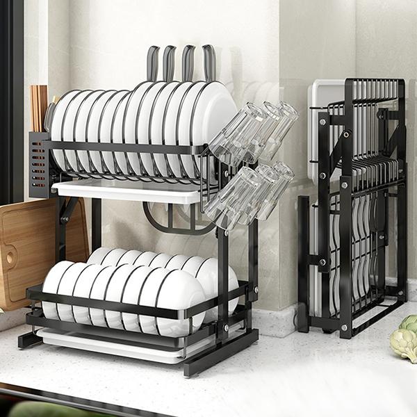 Égouttoir à vaisselle pliable à 2 niveaux