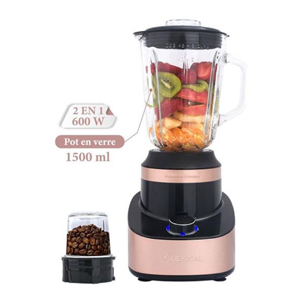 Mixeur 2 en 1 LEXICAL 600 W : Blender 1.5 L + Moulin à épices et café