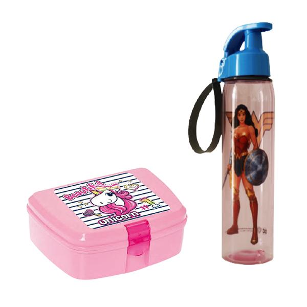 Boite à goûter Unicorn + Bouteille Wonder Woman